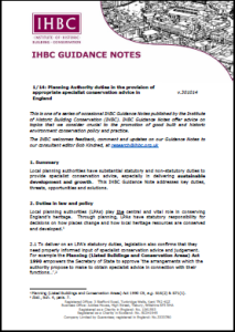 IHBC Guidance Note cover