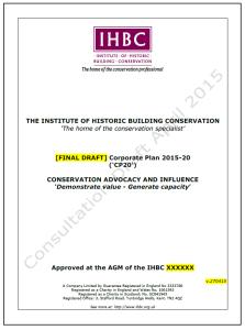 IHBC Corporate Plan 2015-20 DRAFT Cover