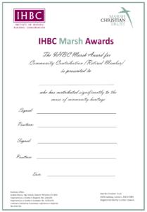 IHBC Marsh Award certificate
