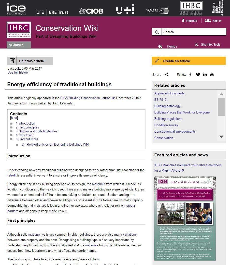 New addition to IHBC's Conservation Wiki – John Edwards on 'Energy ...
