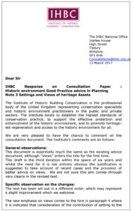 IHBC Consultation Response 130317