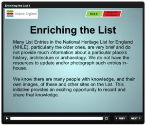 Historic England Enriching The List website