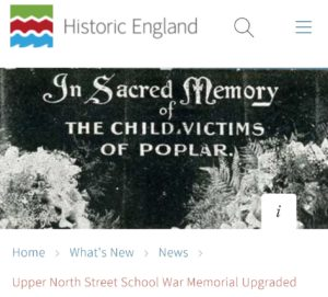 Historic England Poplar School Memorial