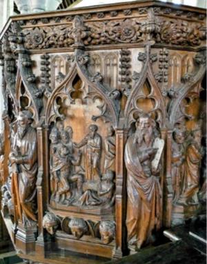 wood carved pulpit