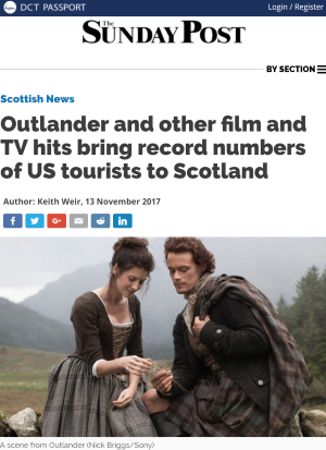 VisitScotland research: Outlander and other film and TV hits