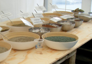 bowls of sand and aggregate samples